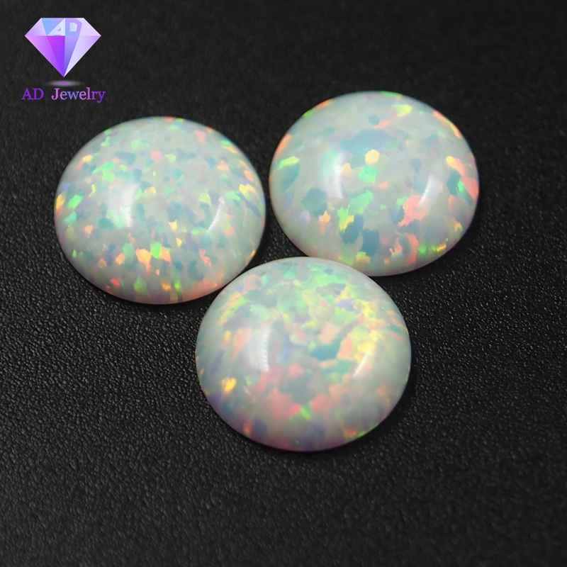 Wholesale White Opal Flat Back Opal Cabochon 8mm Opal Cabochon For Ring