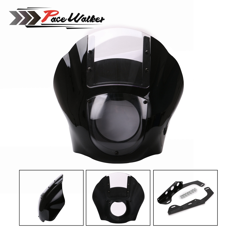 ABS Quarter Fairing Kit Black For 1988-later Sportster XL 883 1200 86-94 FXR 95-05 Dyna models Fat Bob Super Glide detachable quarter headlight fairing kit for harley sportster fxr 1986 1994 dyna 1995 2005 for harley 883 fat bob super glide