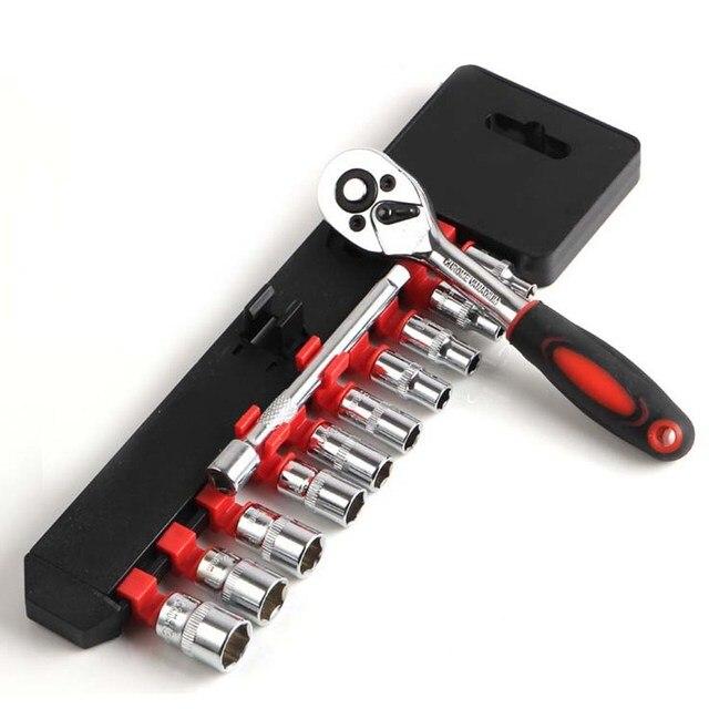 "12Pcs Kit 1/4"" (6.3MM) Mini Wrench Socket Set Chrome Vanadium Steel CR-V Drive Ratchet Wrench Spanner for Bicycle Motorcycle Car"