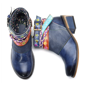 Ankle Boots Handmade leather women's boots denim belt Chunky boots Ethnic Women shoes Zipper Flower Botas mujer