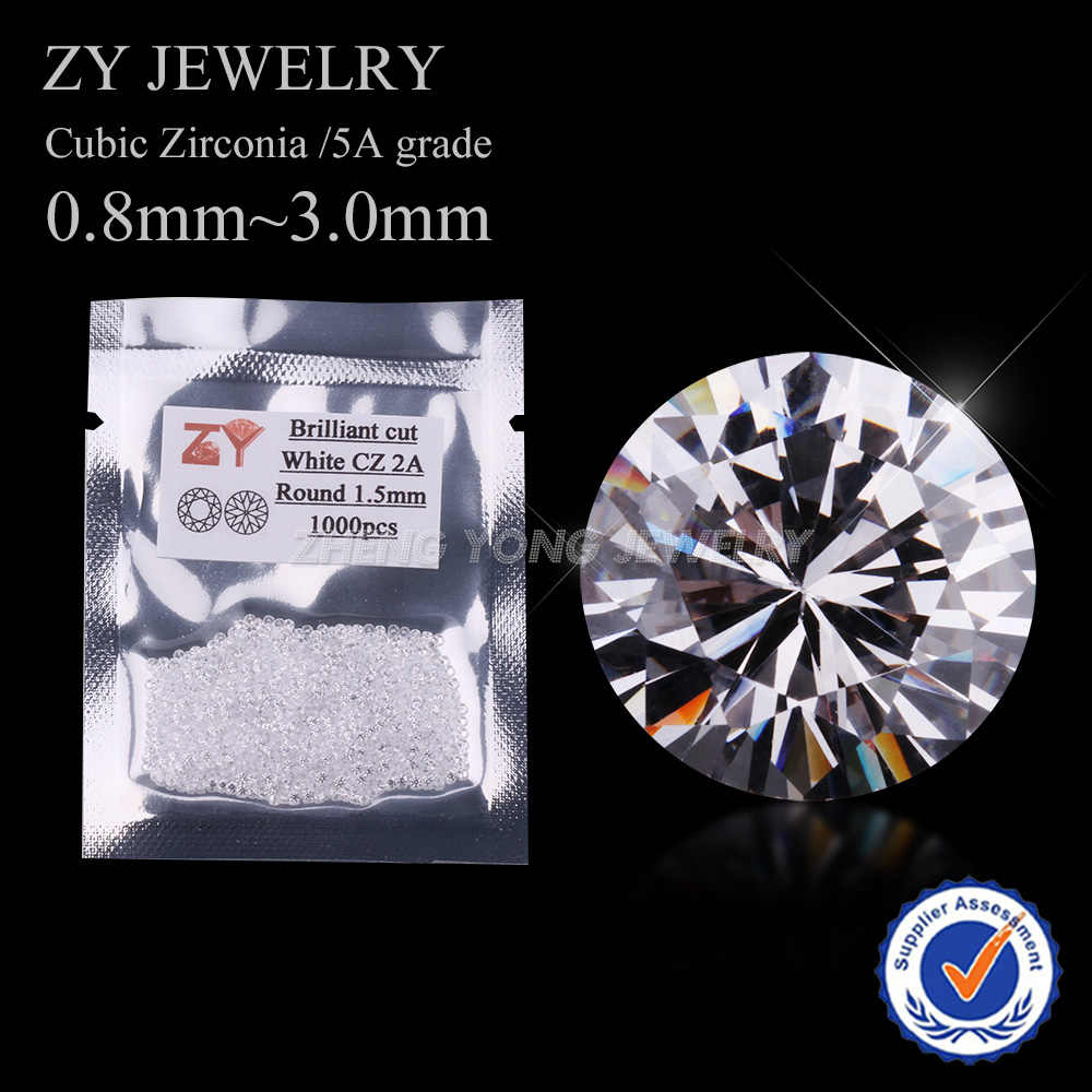 1000 pçs/lote aaaaa pedra de zircônia cúbica, pedras de zircônia branca, corte brilhante, soltas, pedras sintéticas, 0.8 3.0 ~ mm para jóias