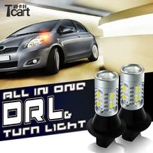 Tcart 2 шт. автомобиля лампы ДРЛ Габаритные огни поворотники авто Led белый + Янтарный лампа WY21W T20 7440 для Nissan Мурано z51 2012