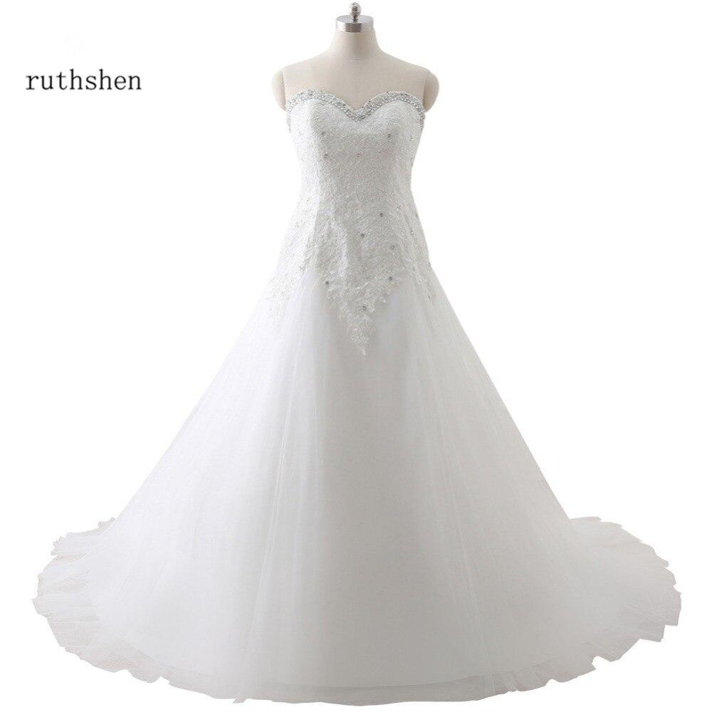 ruthshen 100 Real Photo Cheap Plus Size Wedding Dresses Sweetheart Lace Appliques Beaded Corsert Vestidos De