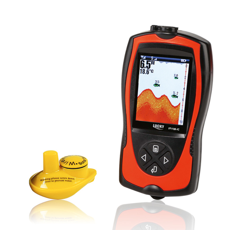 Lucky Fish Finder echo sounder Wireless Sonar Fishfinder English Russian Menu 147ft 45m Water Depth Fish Sonar FF1108-1CW lucky ff718li w portable fish finder wireless sonar fishfinder 45m fish depth alarm echo sounder