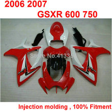 Injection molding fairings for Suzuki GSXR600 2006 2007 red white black motorcycle fairing kit GSXR 600 750 K6 K7 06 07 TN08