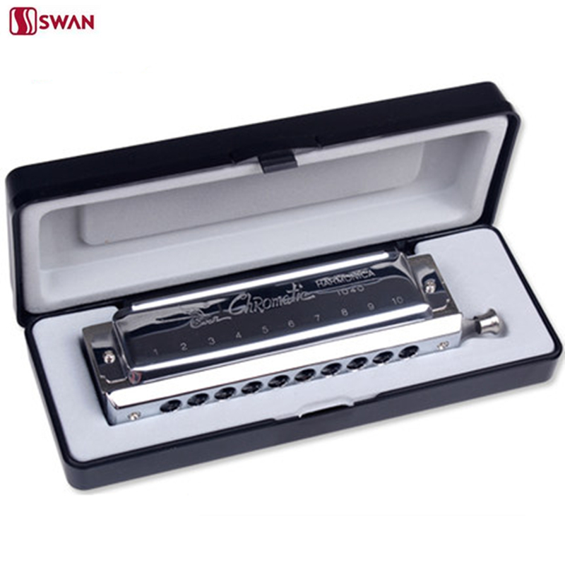 SWAN Harmonica 10 Hole 40 Tone Chromatic Harp woodwind musical Instrument mouth organ Blues moundharmoniKa все цены