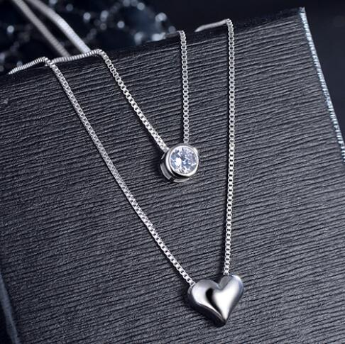 AGOOD 2017 silver for women female double layer Necklaces & Pendants rhinestone heart shape Collares Collier Femme big crystal