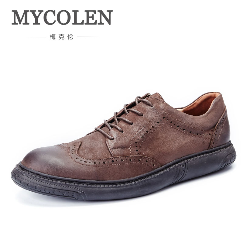 MYCOLEN The New Listing Genuine Leather Men Luxury Designers Formal Shoes Brogue For Wedding Party Male Flat Men'S Dress Shoes цены онлайн