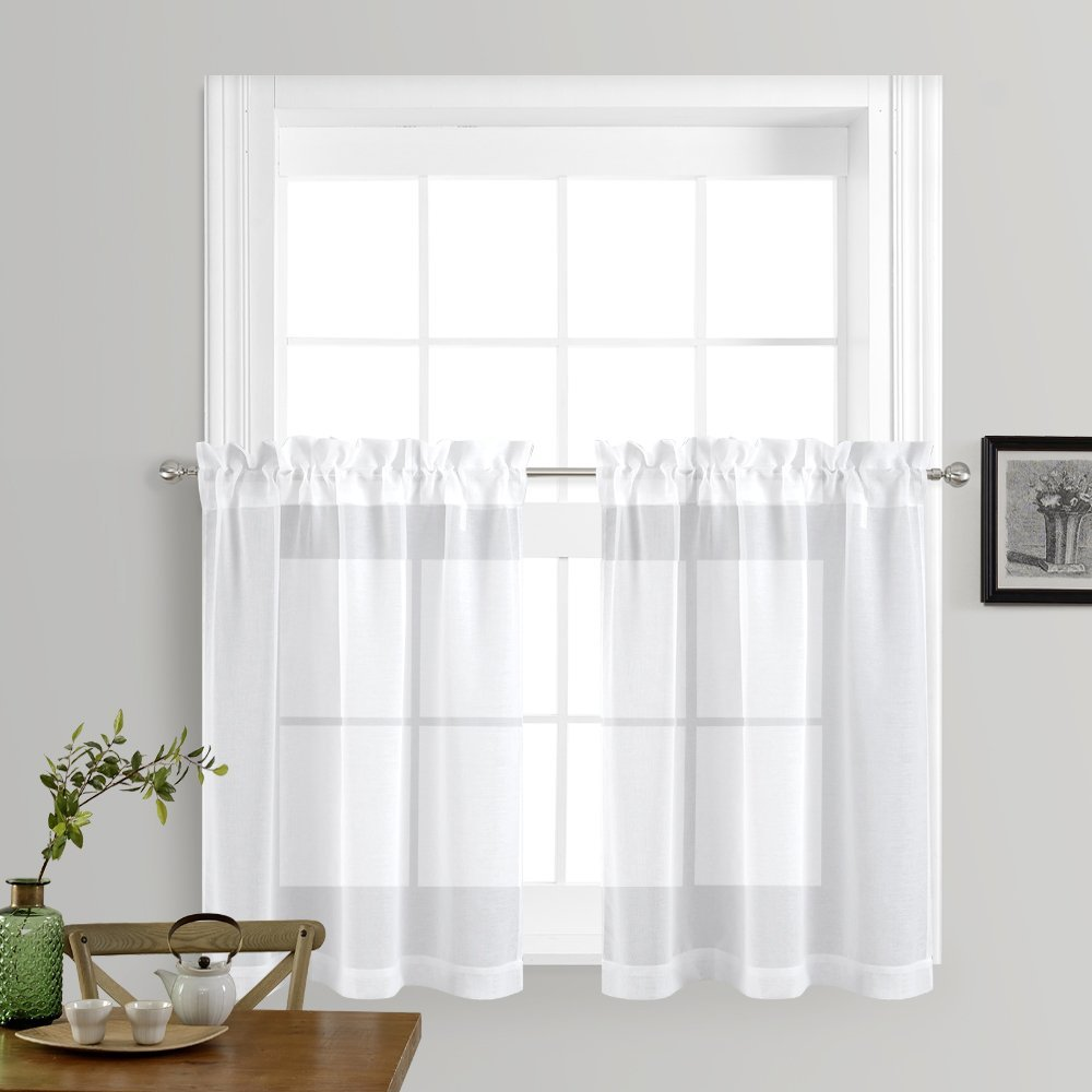 sheer curtains for kitchen window home fashion faux linen rod pocket voile drapes for small. Black Bedroom Furniture Sets. Home Design Ideas