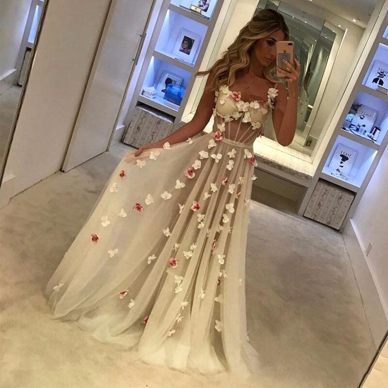 Robe de Soiree/роскошное бежевое платье для выпускного вечера с цветочным рисунком 2019, сексуальное прозрачное вечернее платье на заказ