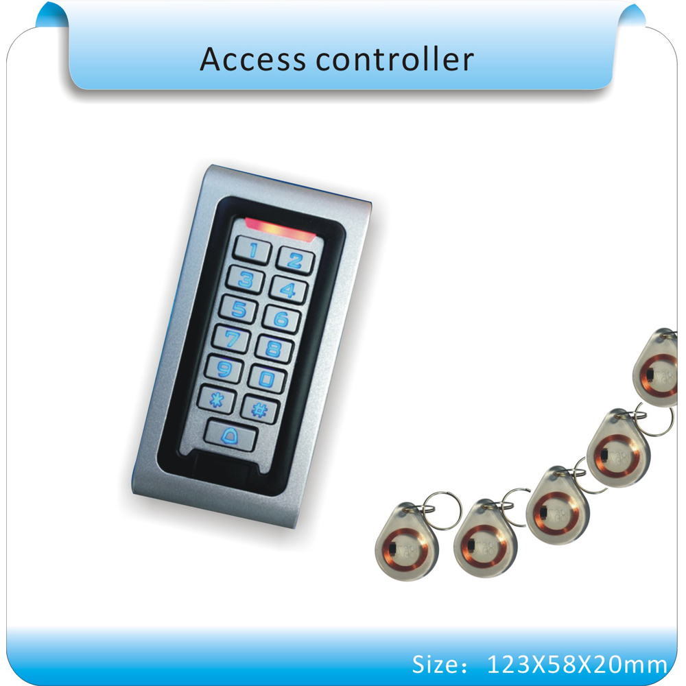 Metal case 10 crystal keyfobs 125KHZ RFID Proximity Card Access Control System RFID/EM Keypad Card Access Control Door Opener mini access control keypad em card wiegand 26 output input with rfid keyfobs 125khz for door lock security system