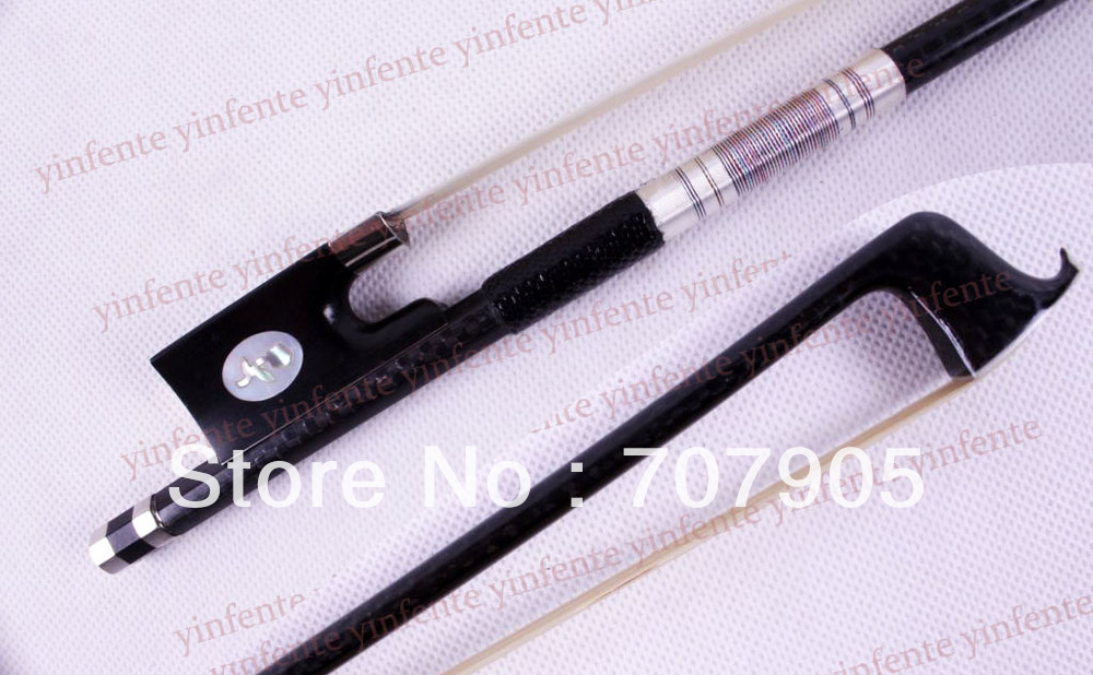 4/4 Violin Bow Carbon Fiber Flower inlaid Silver Color Bow string