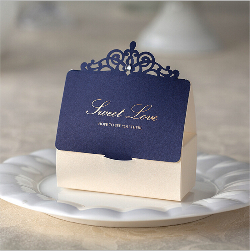 Aliexpress Lover Wedding Gift And Favors Bag Elegant Luxury Decoration Laser Party Event Supplies Blue Paper Candy Box For Guest From