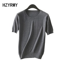 HZYRMY 2018 Spring New Womens Cashmere Sweater O-Neck Solid Color Short Sleeve Fashion Summer Wool Knit Pullover Soft Shirt