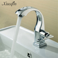 Xueqin Free Shipping Chrome Finish Single Lever Home Bathroom Basin Faucet Spout Sink Cold Water Tap