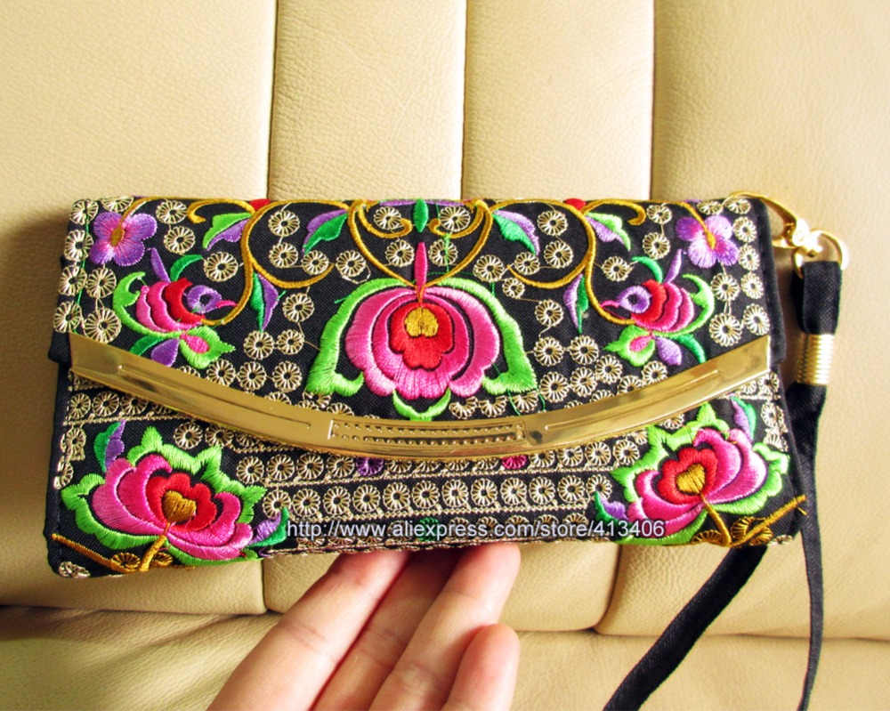 3-layer Vintage Hmong Thai Ethnic Wallet coin purse, Card Holder Bag, Hobo Hippie Ethnic handbag with embroidery, SYS-484P vintage embroidery womens flower embroidered wallet purse handmade ethnic fashion long wallet phone handbag bolsos vintage mujer