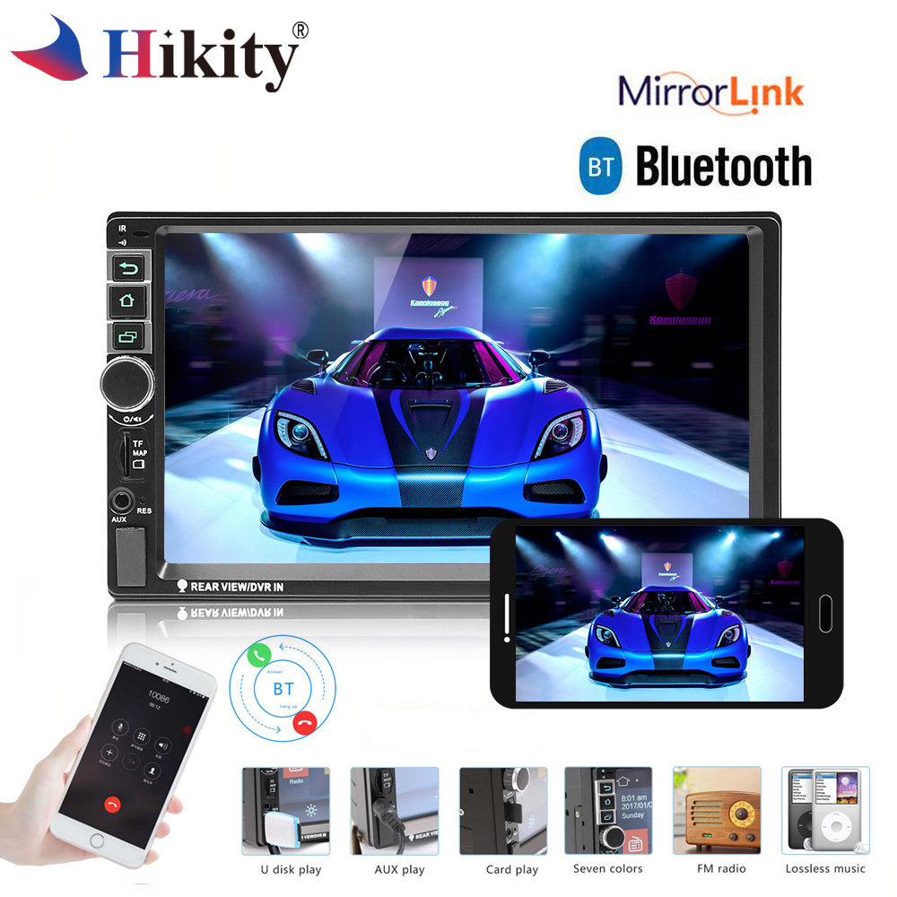 Hikity 2 Din Android car radio GPS Bluetooth Car Multimedia Player MP5 Touch Screen 7 HD Car Audio USB AUX FM Rearview Camera hot 7020g car bluetooth audio stereo mp5 player with rearview camera 7 inch touch screen gps navigation fm function with camera