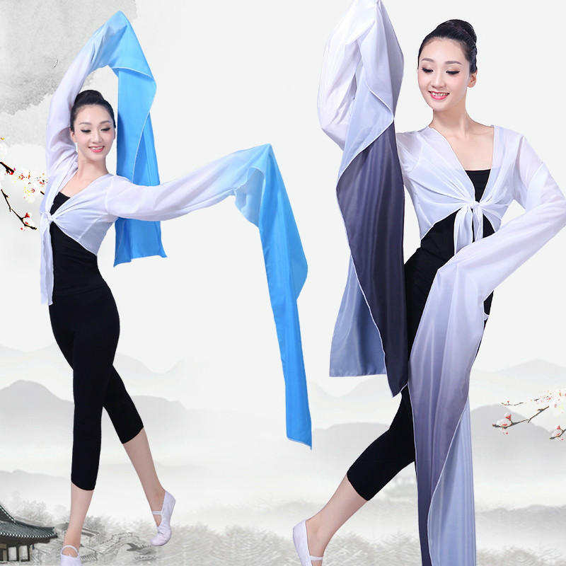 Multicolor Chinese Hanfu Water Sleeves Yangko Dance Practice Tops Female Chinese Classical Beijing Opera Tibetan Dance Costume