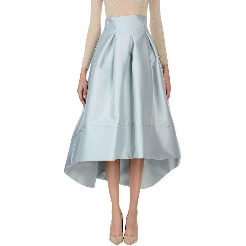 Angleterre Style haut bas jupes femmes taille haute bleu pâle plissé jupe pour dames à bureau bal partie jupe grande taille personnalisé