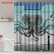 WONZOM Animal Wolf Shower Curtains For Bathroom Decor Modern Cat Tiger Bath Waterproof Curtain with 12 Hooks 2018 New Gift