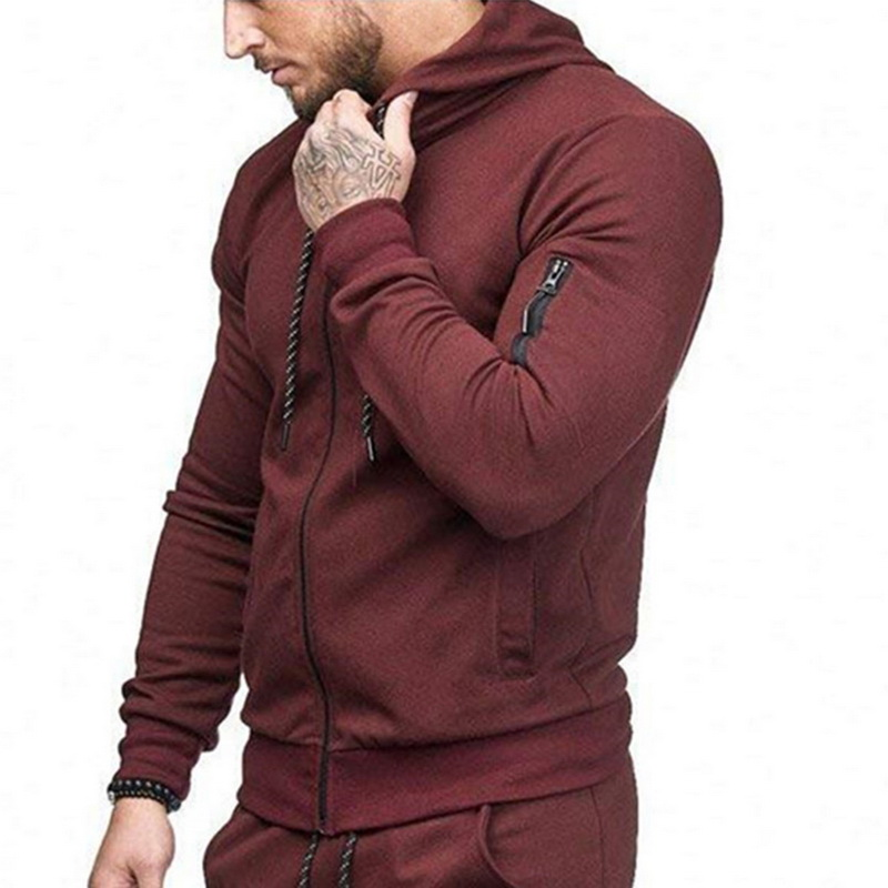 HTB1nlq6aynrK1RjSsziq6xptpXan HEFLASHOR Men Drawstring Sportwear Set Fashion Solid Sweatshirt&Pants Tracksuit Casual Zipper Hoodies Outwear Clothes 2019