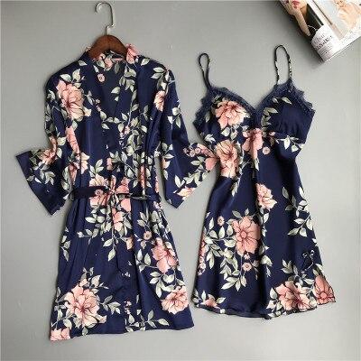 두 조각 여성 잠옷 실크 드레스와 가운 가운 세트 꽃 목욕 가운 란제리 Femme 섹시한 Nightdress 기모노 잠옷 정장