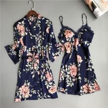 Iki parçalı kadın pijama ipek elbise ve Robe elbise seti çiçek bornoz iç çamaşırı Femme seksi gecelik Kimono pijama ev takım elbise