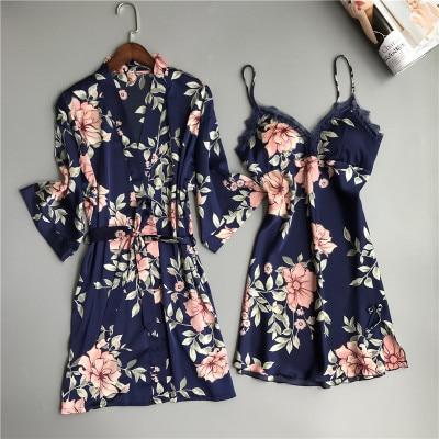 Two Piece Women's Pajamas Silk Dress And Robe Gown Set Floral Bathrobe Lingerie Femme Sexy Nightdress Kimono Sleepwear Home Suit-in Robe & Gown Sets from Underwear & Sleepwears
