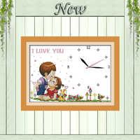 Amor niño beso chica reloj diy pintura cuenta impresión en lienzo DMC 14CT 11CT chino punto de cruz bordado conjuntos kits