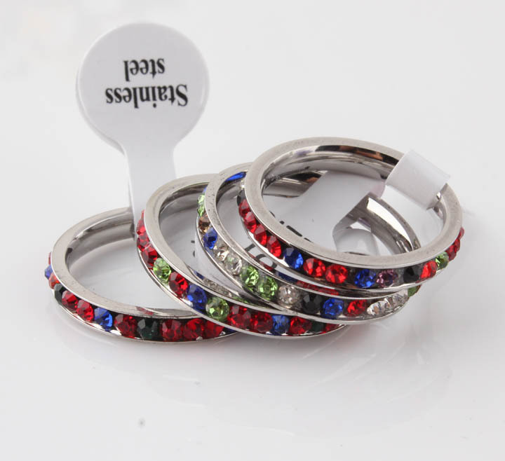 2014 New Fashion Hot-Selling Korean Jewelry Fashion Simple Single Row of Small 316L Colorful Stainless Steel cz Zircon Ring