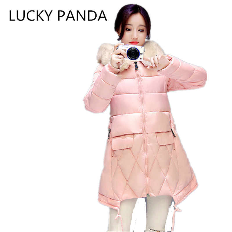 LUCKY PANDA  2016 WOMAN new winter coat in the long hair female cotton padded collar slim code LKB191 the woman in the photo