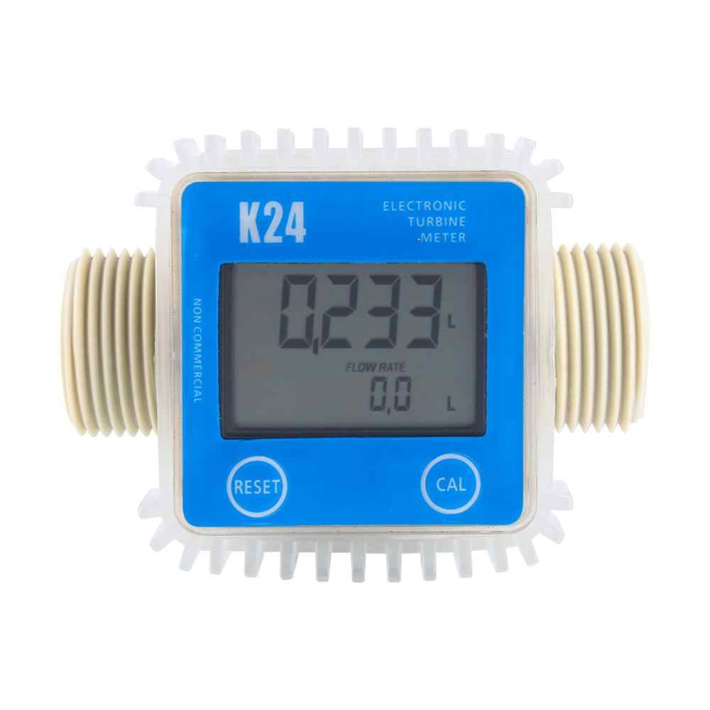 Digital LCD Fuel Flow Meter K24 Turbine Diesel Fuel Flow Meter for Chemicals Water Sea Adjust Liquid Flow Meters Measuring Tools