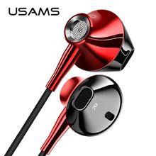 USAMS In ear 3,5 мм аудио наушники Металлические Hifi Проводная гарнитура микрофон 4D стерео проводные наушники для iPhone 6s se Samsung Xiaomi