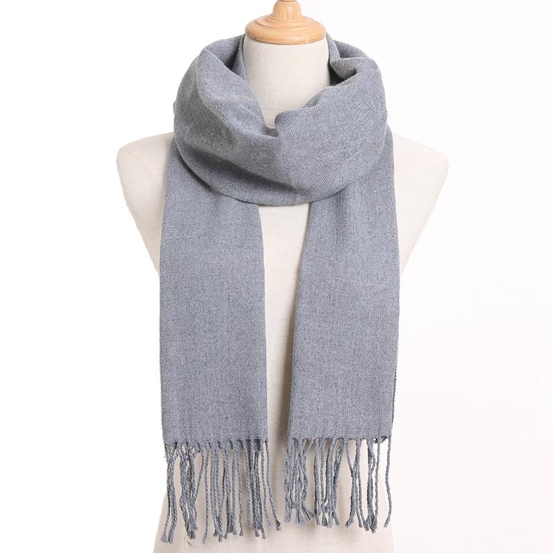 [VIANOSI] клетчатый зимний шарф женский тёплый платок одноцветные шарфы модные шарфы на каждый день кашемировые шарфы - Цвет: 56