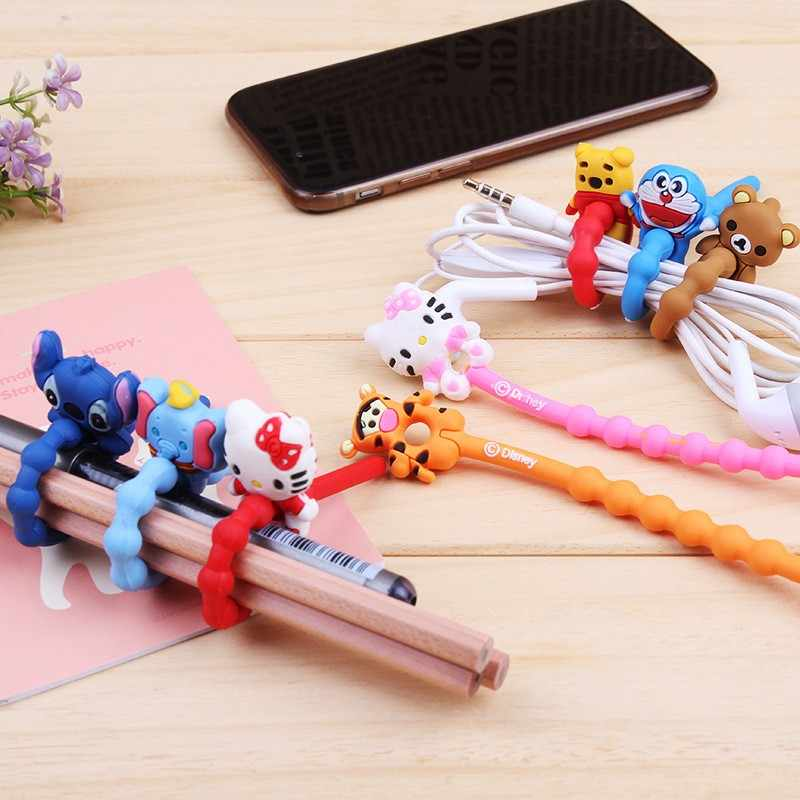 New Arrival 10pcs/lot Lovely Cartoon Cable Winder Headphone Earphone Cable Wire Organizer Cord Holder Power cord retention