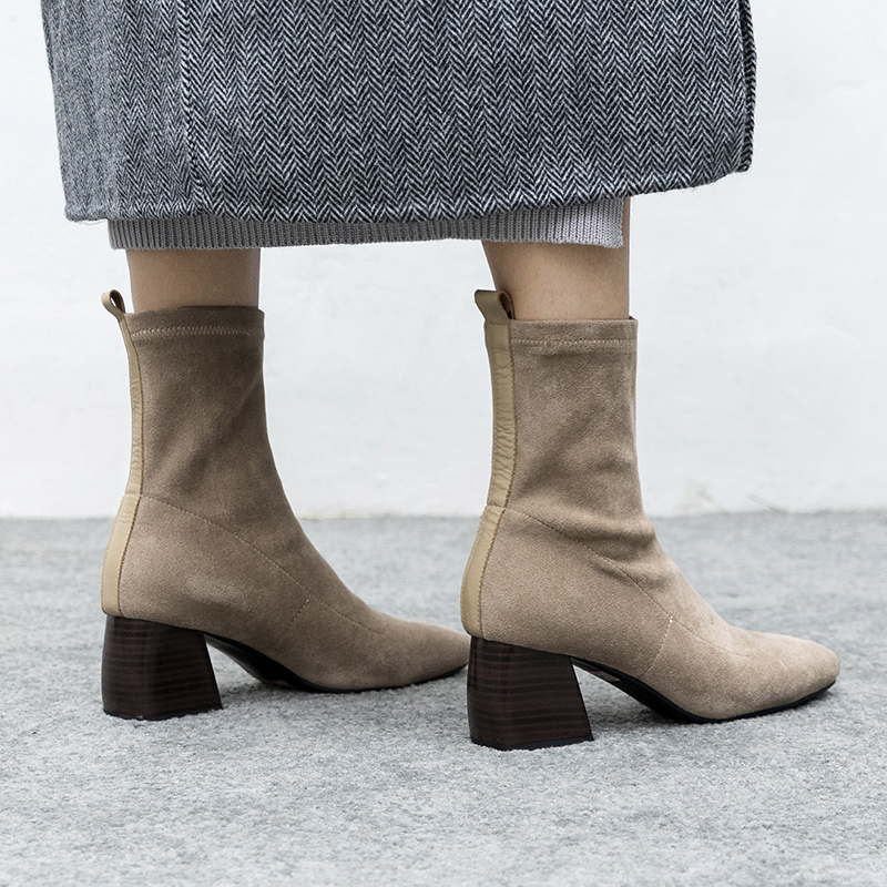 22 26.5cm length big size Women Boots hot sale casual fashion Square head thick with elastic Lady Korean 6cm high heels
