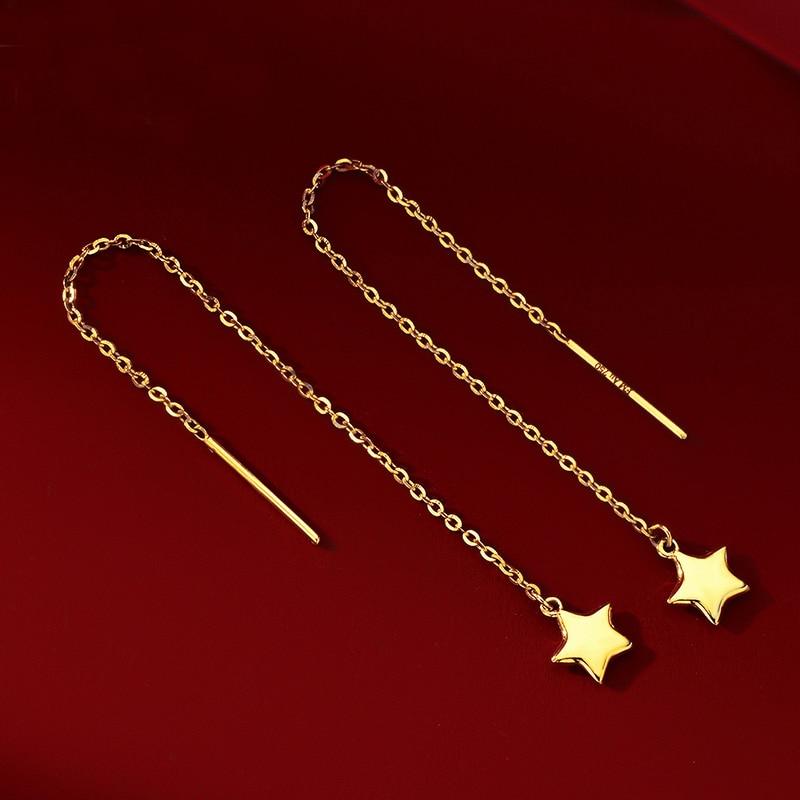 Pure AU750 Yellow Gold Star Dangle Earrings Women Long Dangle Earrings 1.2g leopard feather dangle earrings