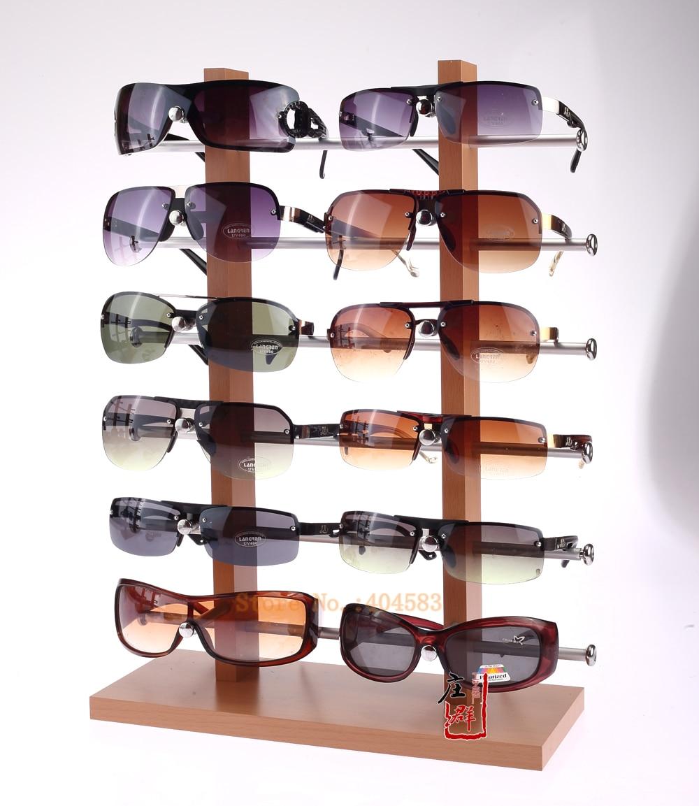 Eyeglasses display - Double Row 12 Grid Wood Grain Display Sunglasses Display Stand For Eyeglass China