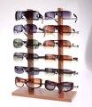 Duplo row 12 grade de madeira da grão exibir óculos de sol, Carrinho de exposição para óculos