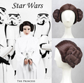 Star Wars Princess Leia Organa Brown Styled Cosplay Wig Two Buns Wigs Performance Wig Free Shipping