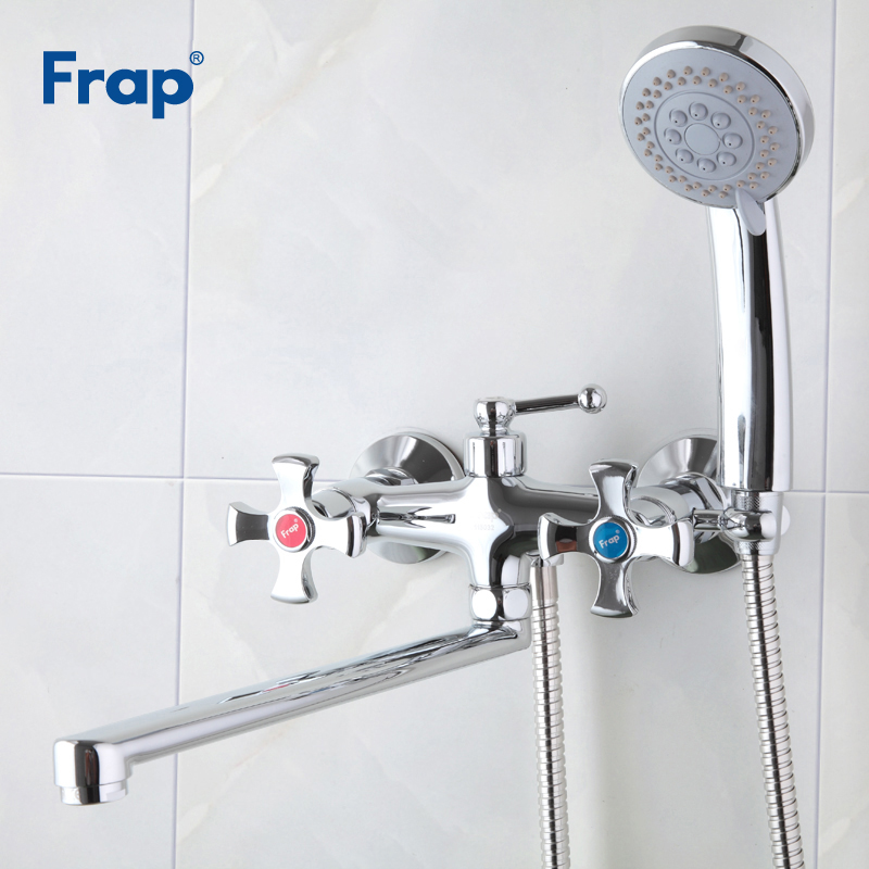 Frap New Bathtub Faucet Bathroom Shower Faucet Chrome Banheiro Wall Mounted Tap Brass Bathtub Mixer Water Shower Crane F2293