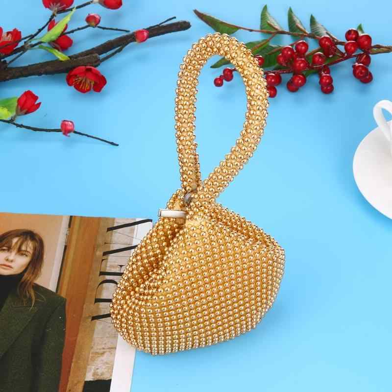 ... Golden Metal Clutch Bags for Women Ladies Small Fashion Day Clutches  Pearl Beaded Purse for Dinner ... 3a0845d68b3e