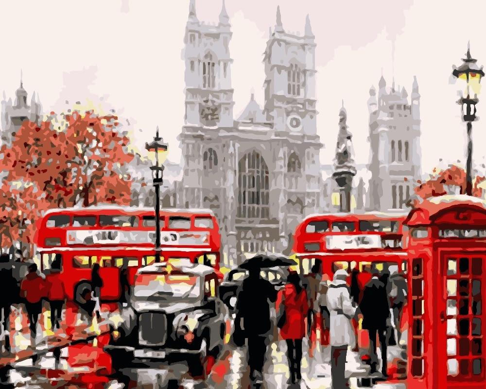 Imparato Strada Figure Sotto La Pioggia Bus Rosso Foto Di Paesaggio Disegno Salotto Acrilico Regali Unici Di Lino Decorazione Di Arte 40x50 Centimetri