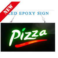 PIZZA OPEN SIGN PIZZA Epoxy Resin Glow Card Luminous Tags Animated Motion Display Flashing On Off