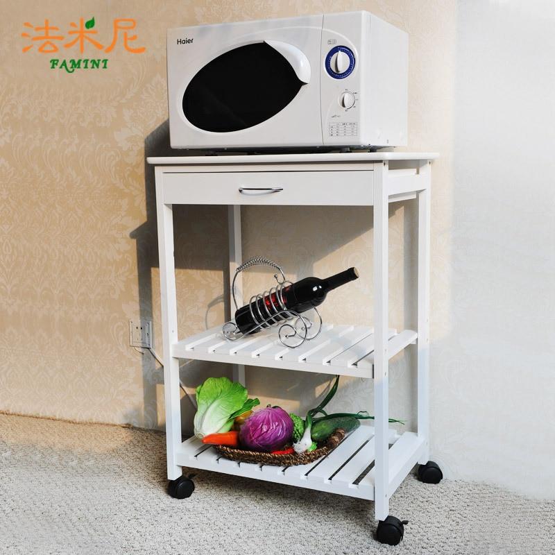 Nontoxic beweegbare keuken opslag plank magnetron kast hout restauratierijtuig wit houten - Mini keuken voor studio ...