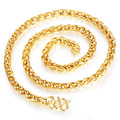 Mans Chain Necklaces Luxury 18K Real Gold Plated Men Link Chain Jewelry Allergy Free Twisted Accessories KX629