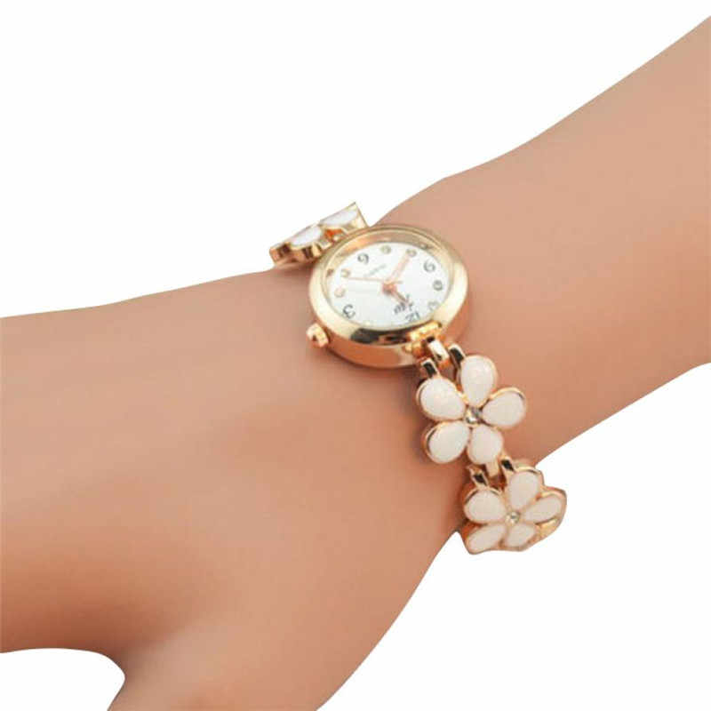New Fashion woman watch 2018 Daisies Flower Rose Gold Crystal Bracelet Wrist Watch Analog Quartz Wristwatch relogio masculino 30