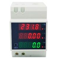 50 pçs/lote por dhl/fedex AC80-300V AC 0-100A Multifuction Digital DIN-Rail Amp Volts de Energia Fator De Potência Fase medidor de 39% off