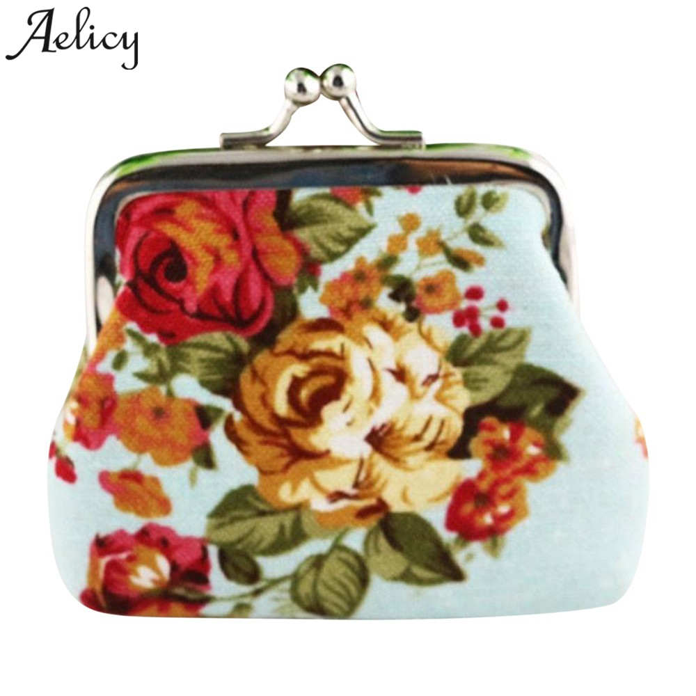 Coin Purse Flower Printing Ladies Small Purse Coin Metal Button Pocket Coin Pouch Key Credit Card Holder