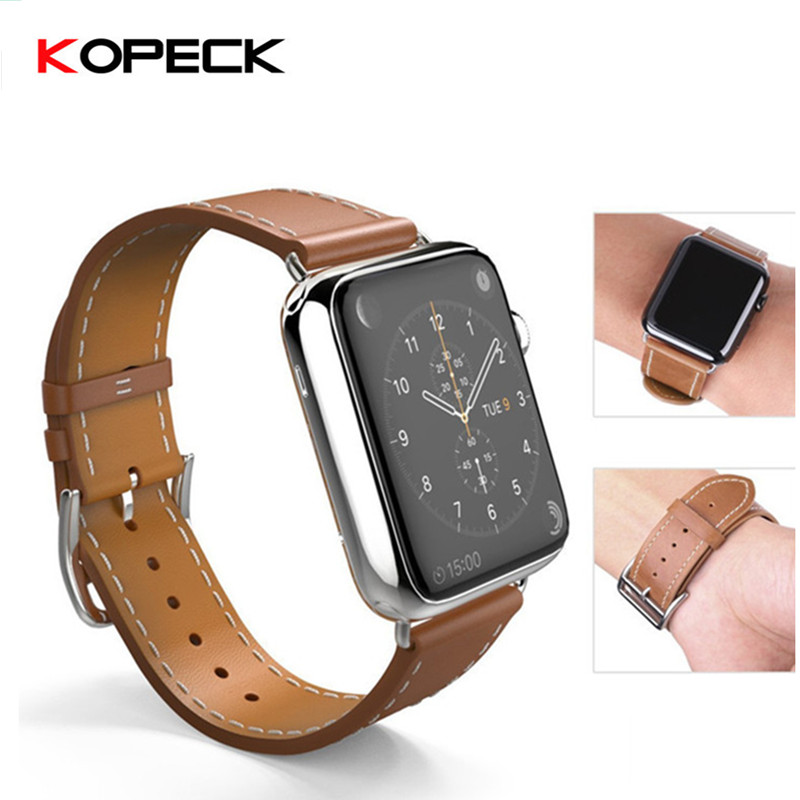Kopeck Genuine Leather for Apple Watch Band 38mm 42mm Luxury Watch Strap Replacement Bands For Apple iWatch Series 1 Series 2 6 colors luxury genuine leather watchband for apple watch sport iwatch 38mm 42mm watch wrist strap bracelect replacement